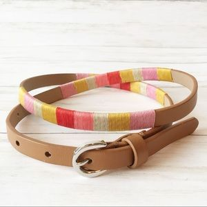 Brown Faux Leather Belt with Colorful Woven Detail